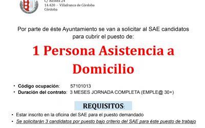 Convocatoria 1 plaza de Asistencia a Domicilio. Programa Emplea 30+