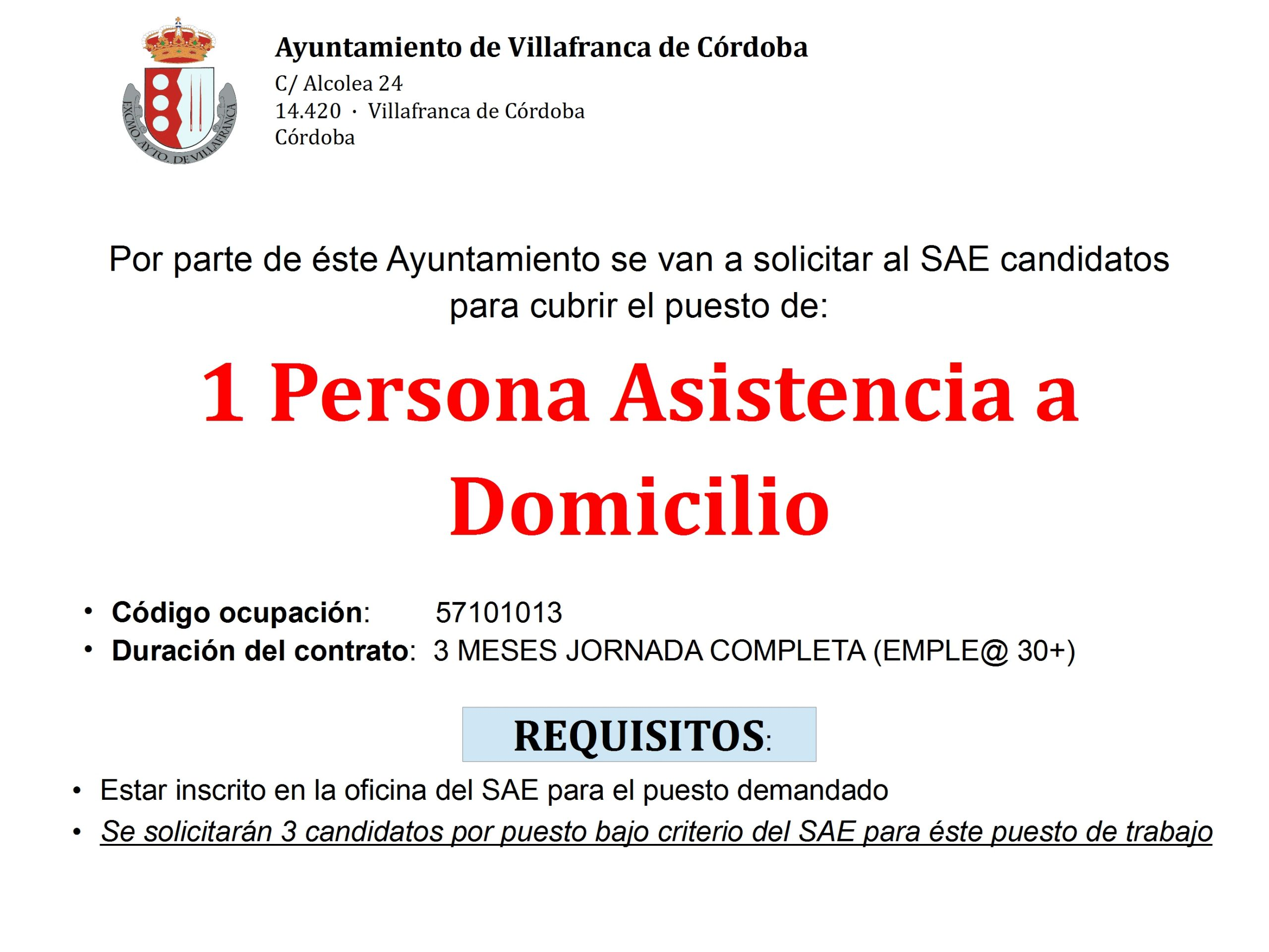 Convocatoria 1 plaza de Asistencia a Domicilio. Programa Emplea 30+ 1