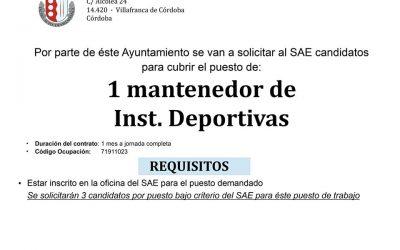 Oferta de empleo: Mantenedor de Instalaciones Deportivas.