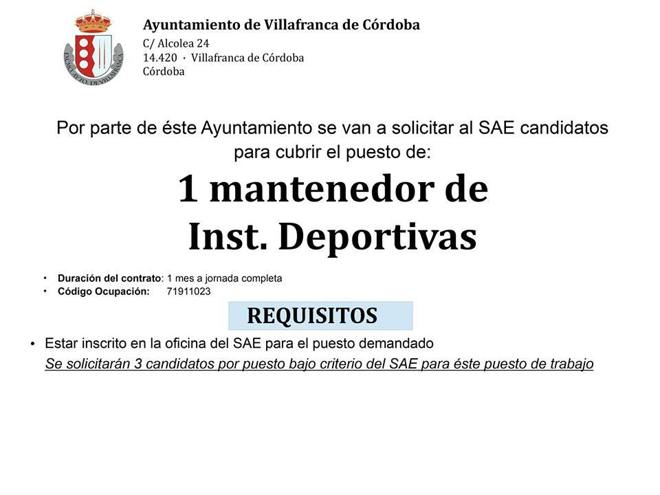 Oferta de empleo: Mantenedor de Instalaciones Deportivas. 1