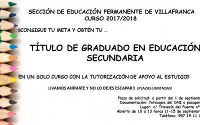 Curso para la Obtención del Título de Graduado en Educación Secundaria