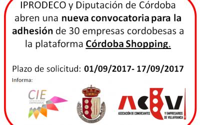 Convocatoria para la adhesión de 30 empresas cordobesas a la plataforma Córdoba Shopping. Ampliado plazo hasta el 25 de septiembre.