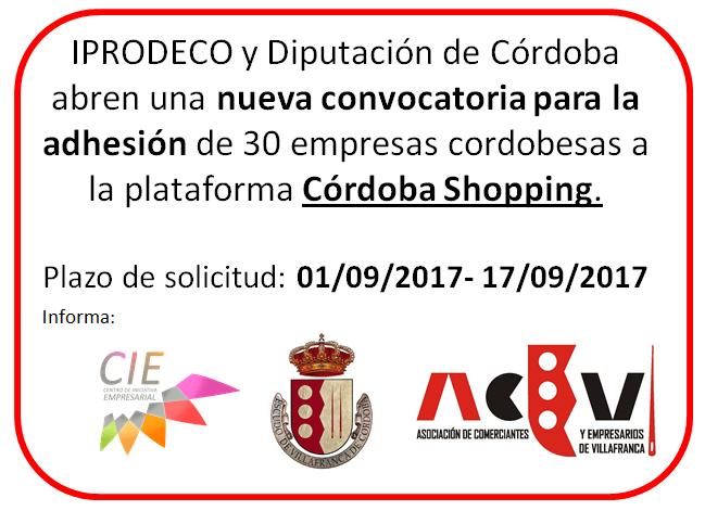 Convocatoria para la adhesión de 30 empresas cordobesas a la plataforma Córdoba Shopping. Ampliado plazo hasta el 25 de septiembre. 1