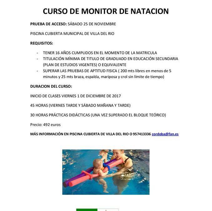 Curso de Monitor de Natación. Prueba de acceso 25 Noviembre.
