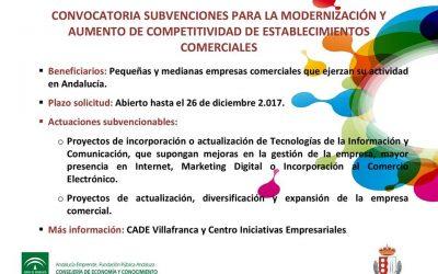 Convocatoria de ayudas para la modernización y expansión de Establecimientos Comerciales. Plazo hasta 26 de Diciembre