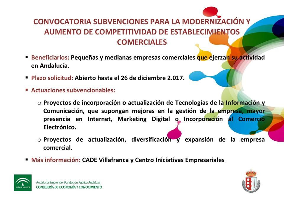 Convocatoria de ayudas para la modernización y expansión de Establecimientos Comerciales. Plazo hasta 26 de Diciembre 1