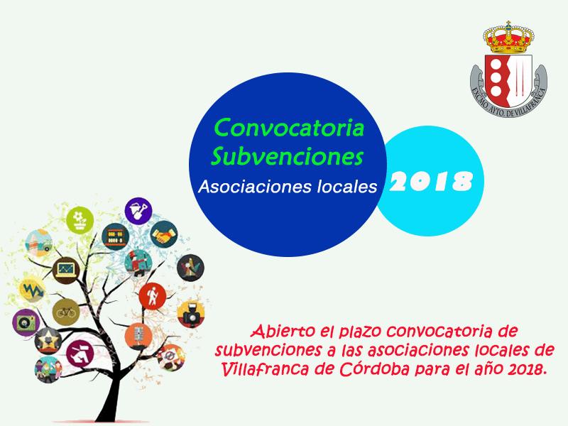 Bases de la Convocatoria 2018 de Subvenciones a Asociaciones y Entidades Sin Ánimo de Lucro de Villafranca de Córdoba