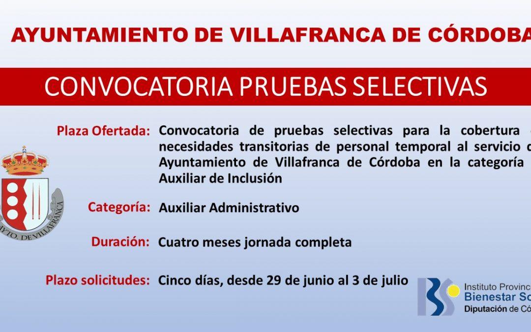 Convocatoria de pruebas selectivas para la cobertura de necesidades transitorias de personal temporal al servicio del Ayuntamiento de Villafranca de Córdoba en la categoría de auxiliar de inclusión social