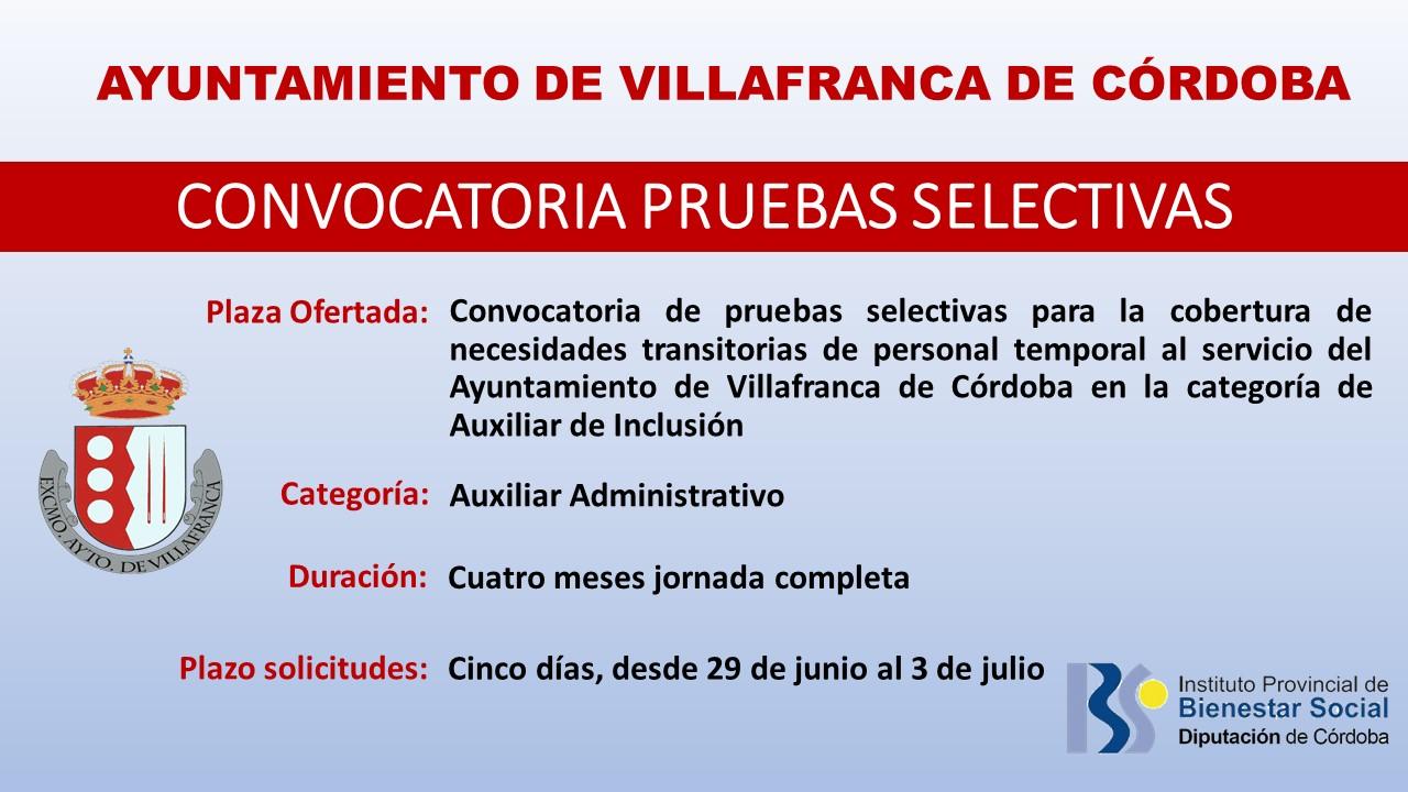 Convocatoria de pruebas selectivas para la cobertura de necesidades transitorias de personal temporal al servicio del Ayuntamiento de Villafranca de Córdoba en la categoría de auxiliar de inclusión social 1