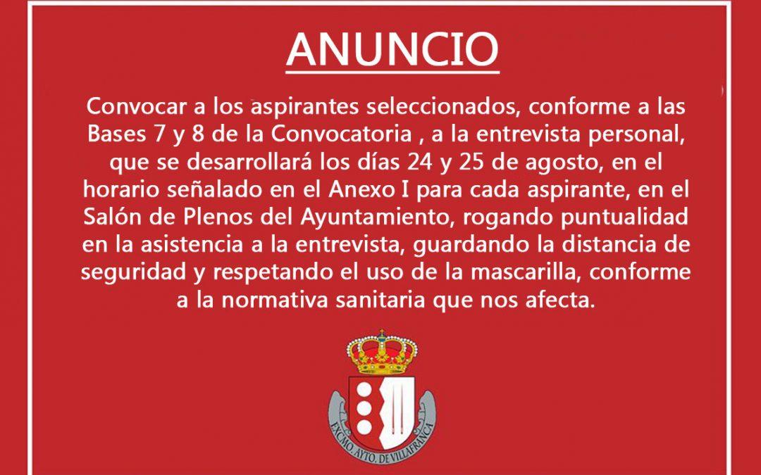 Convocatoria aspirantes plaza Auxiliar Administrativo Servicios Sociales