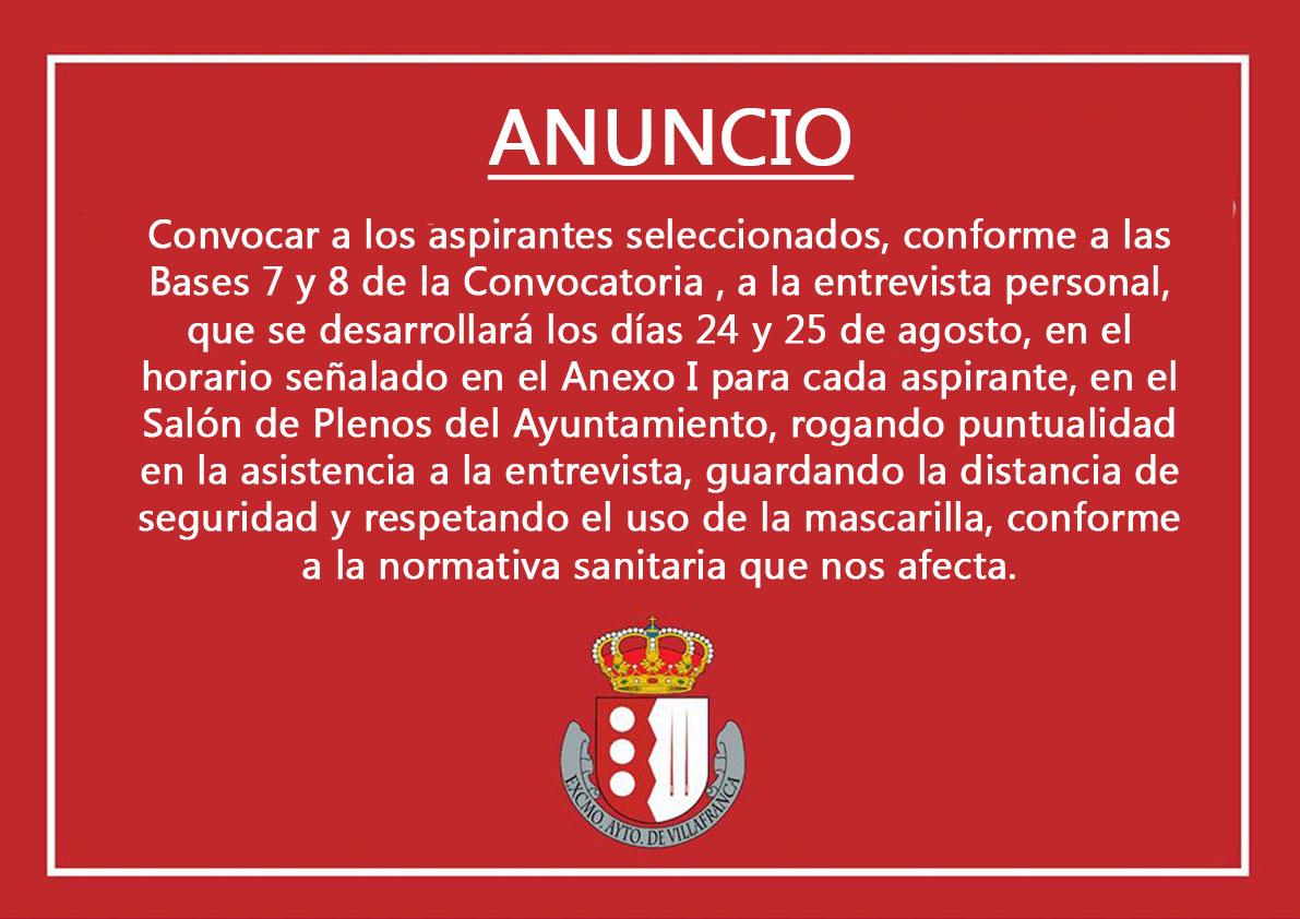 Convocatoria aspirantes plaza Auxiliar Administrativo Servicios Sociales 1