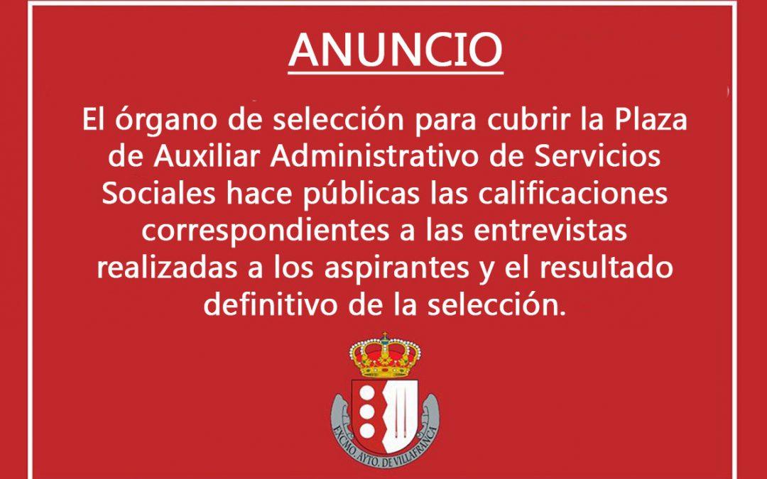 Calificaciones Órgano de Selección para cubrir plaza Auxiliar Administrativo Servicios Sociales