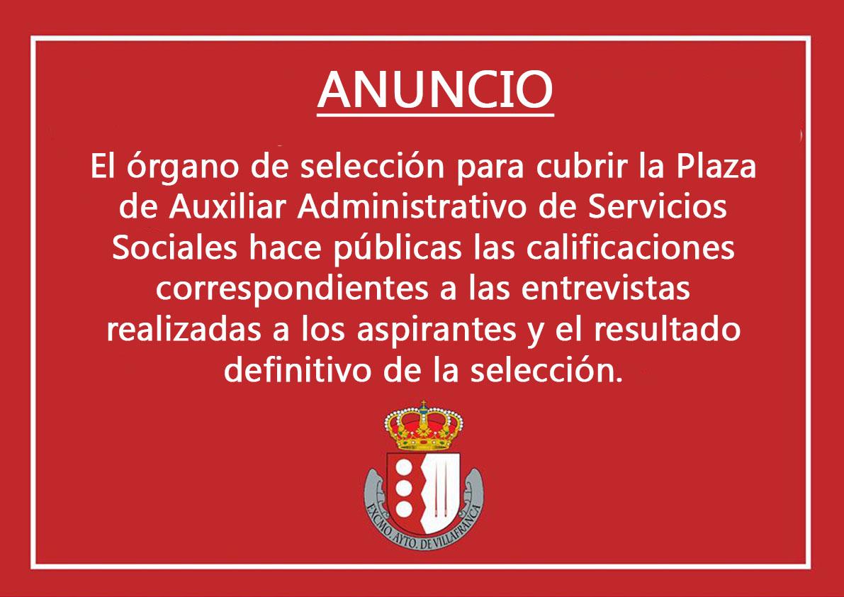 Calificaciones Órgano de Selección para cubrir plaza Auxiliar Administrativo Servicios Sociales 1