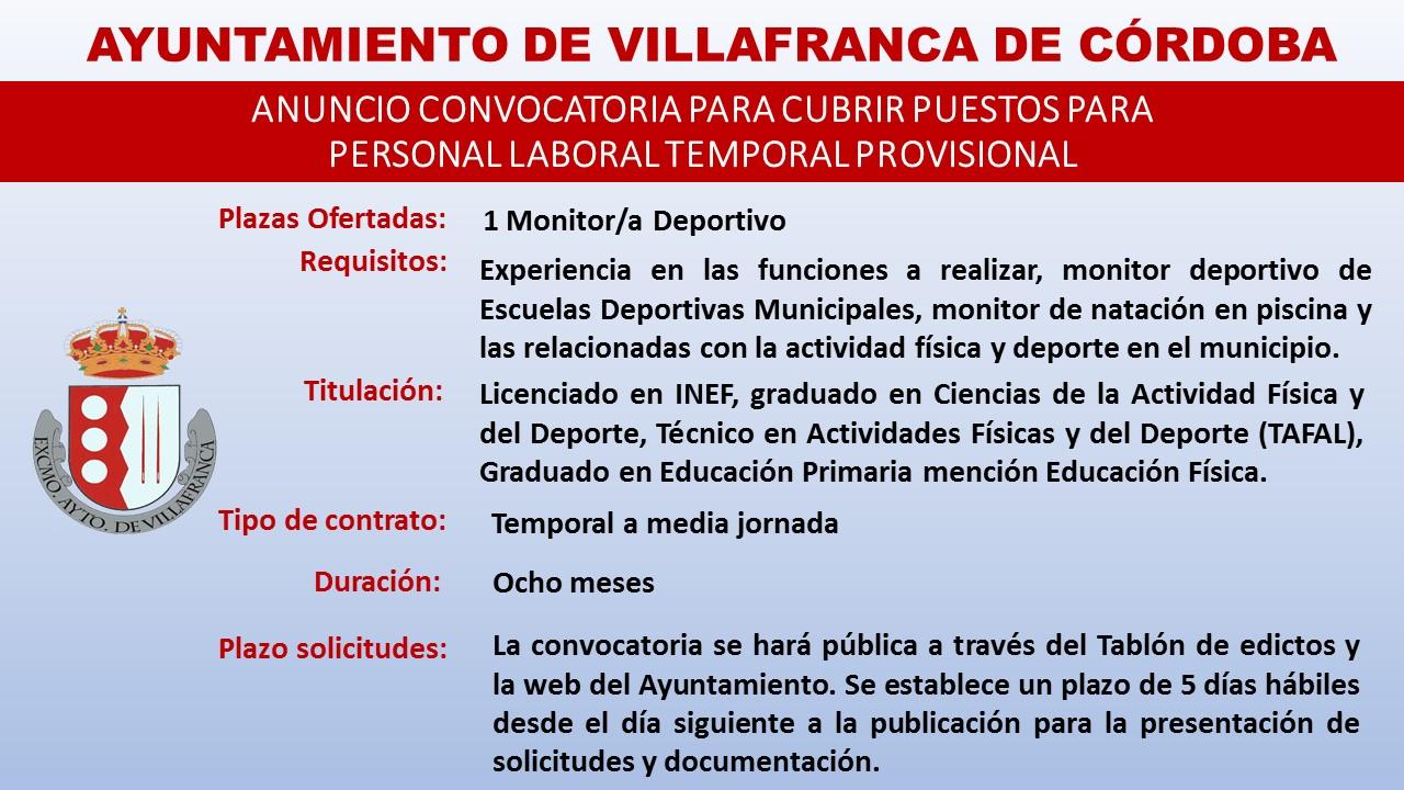 Convocatoria para cubrir puestos para personal laboral temporal provisional 1