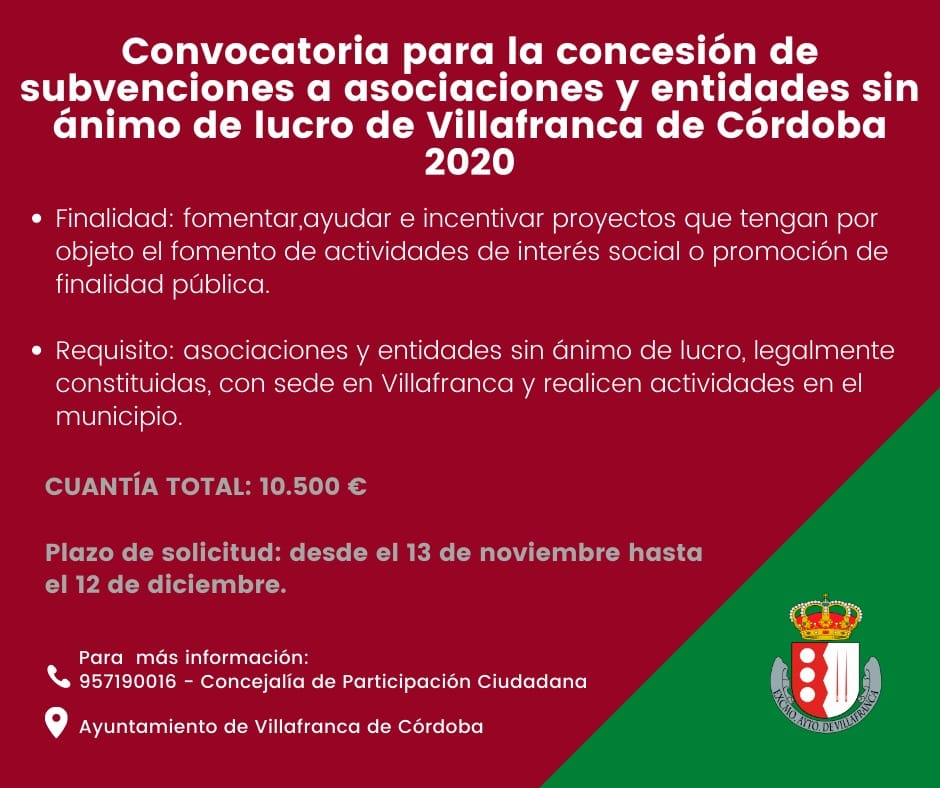 Convocatoria de subvenciones para asociaciones y entidades sin ánimo de lucro de Villafranca 2020 1